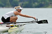 Bled, SLOVENIA, General View,  NZL W1X, Emma TWIGG, opens the oar gate as she prepares for a training outing.  1st FISA World Cup, on Lake Bled.  Thursday  27/05/2010  [Mandatory Credit Peter Spurrier/ Intersport Images]