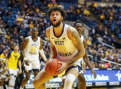 Dec 22, 2018; Morgantown, WV, USA; West Virginia Mountaineers guard Jermaine Haley (10) shoots in the lane during the second half against the Jacksonville State Gamecocks at WVU Coliseum. Mandatory Credit: Ben Queen-USA TODAY Sports