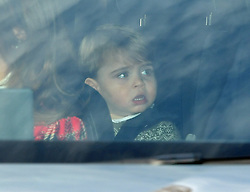 Prince Louis arriving for the Queen's Christmas lunch at Buckingham Palace, London.