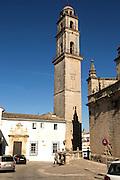 Cathedral church bell tower belfry in Jerez de la Frontera, Cadiz province, Spain against blue sky