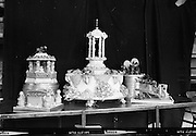 Wedding Cake from Johnston, Mooney and O'Brien bakers..1963..01.05.1963..05.01.1963..1st May 1963..In conjunction with Woman's Way magazine, Johnston, Mooney and O'Brien put on display a selection of Wedding and Occasion cakes produced by their bakers at Leinster Street, Dublin...Picture shows some of the Occasion cakes produced by the master bakers at Johnston,Mooney and O'Brien at their bakery in Dublin.