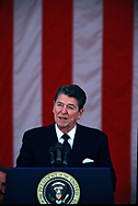 Ronald Reagan gives Memorial Day speech at Arlington Cemetery on May 26, 1986 <br />Photo by Dennis Brack