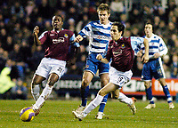 Photo: Gareth Davies.<br />Reading v West Ham United. The Barclays Premiership. 01/01/2007.<br />West Ham's Nigel Reo-Coker, Reading's Kevin Doyle and West Ham's Youssi Benayoun all challenge for the ball.