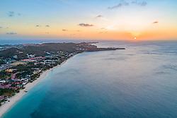 Luftaufnahme von Grenada Suedkueste mit Sonnenuntergang, Karibisches Meer, Karibik / Aerial View from Grenada South Coast with sunset, Caribbean Sea