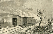 Armour-plated railway trucks used in 1870 during the Franco-Prussian war.