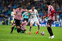 Real Madrid's Gareth Bale and Athletic de Bilbao's Mikel San Jose during La Liga Match at Santiago Bernabeu Stadium in Madrid. October 23, 2016. (ALTERPHOTOS/Borja B.Hojas)