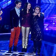 NLD/Amsterdam/20121130 - 4e liveshow The Voice of Holland 2012, Ivar Oosterloo, Anja Dalhuisen en Barbara Straathof