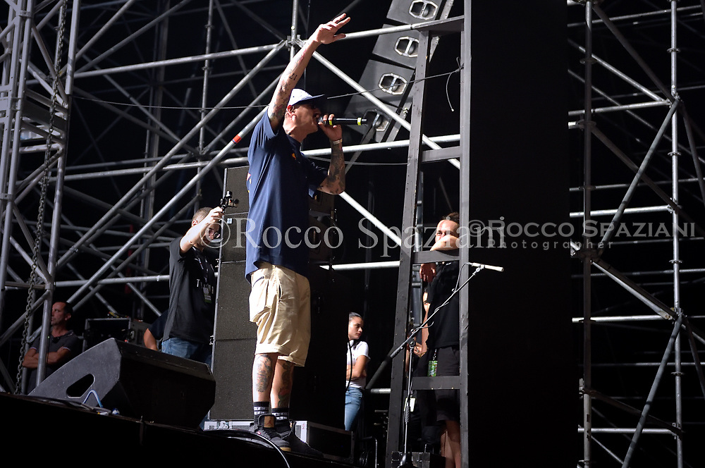 Noyz Narcos performing live on stage in Rome at Rock in Roma festival in  Rome, Italy on 17 July 2018.