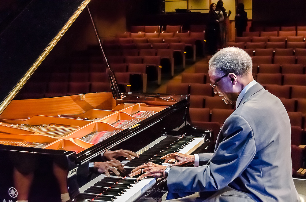 Ramsey Lewis testing the Yamaha piano shortly after the piano tuner finished and just prior to his show at SOPAC in South Orange, NJ>