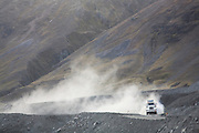 A fuel truck climbs into the Andes on the Interoceanic Highway