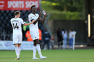 Tammy Abraham of Swansea city ® celebrates with Tom Carroll (14) after the match. Swansea city v Sampdoria , pre-season friendly at the Liberty Stadium in Swansea, South Wales on Saturday August 5th 2017.<br /> pic by Andrew Orchard, Andrew Orchard sports photography.