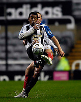 Photo: Jed Wee.<br /> Newcastle United v Portsmouth. Carling Cup. 25/10/2006.<br /> <br /> Newcastle's Nolberto Solano (L) tries to control the ball with Portsmouth's Matthew Taylor trying to stop him.