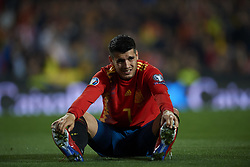 March 23, 2019 - Valencia, Valencia, Spain - Alvaro Morata of Spain lies injured on the pitch during the 2020 UEFA European Championships group F qualifying match between Spain and Norway at Estadi de Mestalla on March 23, 2019 in Valencia, Spain. (Credit Image: © Jose Breton/NurPhoto via ZUMA Press)