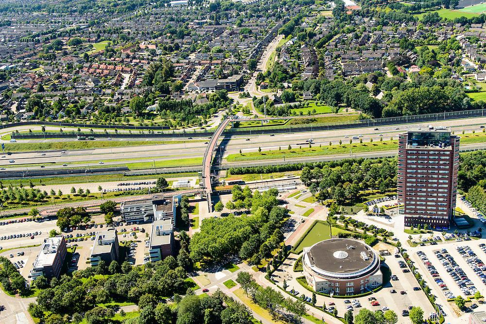 Nederland, Noord-Brabant, Breda, 23-08-2016; Prinsenbeek, omgeving station Breda-Prinsenbeek, A16 en tunnelbak voor HSL.<br /> Prinsenbeek, environment station Breda-Prinsenbeek, A16 and tunnel for HST.<br /> luchtfoto (toeslag op standard tarieven);<br /> aerial photo (additional fee required);<br /> copyright foto/photo Siebe Swart