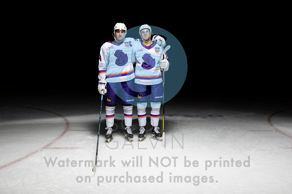 Youngstown Phantoms player photo shoot on April 14, 2021. <br /> <br /> Reilly Funk, forward, 94 and Winter Wallace, forward, 77