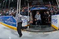 KELOWNA, CANADA - JANUARY 27: BC Hockey referees enter the ice at the Kelowna Rockets against the Kamloops Blazers on January 27, 2017 at Prospera Place in Kelowna, British Columbia, Canada.  (Photo by Marissa Baecker/Shoot the Breeze)  *** Local Caption ***