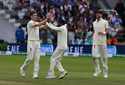 August 12, 2018 - London, Greater London, United Kingdom - England's Chris Woakes  celebrates the catch go Ishant Sharma of India and caught by England's Ollie Pope .during International Test Series 2nd Test 4th day  match between England and India at Lords Cricket Ground, London, England on 12 August  2018. (Credit Image: © Action Foto Sport/NurPhoto via ZUMA Press)