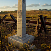 """Looking North into the """"Boot Heal"""" of New Mexico,United States. Border marker #69 and  Normandy barrier style border fence, Animas Valley, Sonora Mexico"""