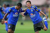 20090325: TERESOPOLIS, BRAZIL – Brazil National Team preparing match against Equador, at Teresopolis training center. In picture: Robinho and Elano. PHOTO: CITYFILES
