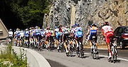 France, Sallanches, 22 July 2009: The group containing Alberto Contador Velasco (Spa) Astana and Lance Armstrong (USA) Astana continues up the Côte d'Araches during Stage 17 Bourg St Maurice to Le Grand Bornand.Images from 2009 Tour de France cycle race. Photo by Peter Horrell / http://peterhorrell.com .