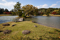 61. Kanjizaio-in Ato Garden 無量光院跡 is an another excellent example of a Pure Land garden. Maizuru-ga-Ike Dancing Crane Pond is all that is left of the once great temple complex, yet Kanjizaio-in Ato remains as beautiful as it was when it was built in the 12th century.  The garden has a large pond with curving coastlines, de rigueur in Pure Land gardens.  In the center of the pond lies an island - the focal point of the garden.  Kanjizaio-in Ato is also a nationally designated Place of Scenic Beauty and was restored in 1978.