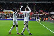 Swansea city's Pablo Hernandez (11) celebrates with Nathan Dyer after he scores the 3rd goal. Barclays Premier league, Swansea city v Queens Park Rangers at the Liberty Stadium in Swansea, South Wales on Saturday  9th Feb 2013. pic by Andrew Orchard, Andrew Orchard sports photography,