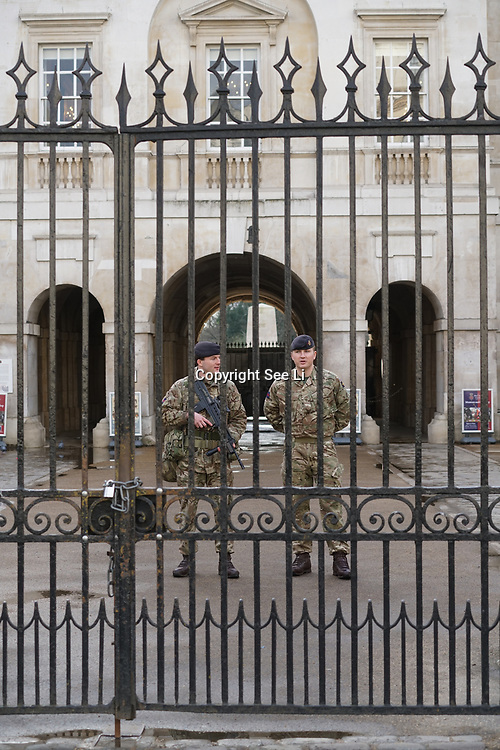 Heavy polices presents seal off the whole of Westminster square after an early knife attacks 22th March 2017 at Parliament, London,UK.  by See Li