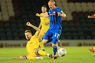 David Perkins is challenged during the EFL Sky Bet League 1 match between Rochdale and Bristol Rovers at Spotland, Rochdale, England on 2 October 2018.
