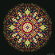 Wicker textured Mandala with a geometrically balanced spectrum of warm and cool colors ranging from peach to purple.