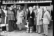 Wexford Opera Festival.       (H40).1974..06.10.1974..10.06.1974..6th October 1974..Today saw the arrival of some of the international artistes who will appear at the Guinness sponsored Wexford Opera festival. opera stars rom all over the world will arrive to perform at the festival. This year the festival will be opened by T.V., and singing star,Mr Val Doonican. The opening will include Illuminations,band parades and a firework display. Mr Thomson Smillie of Scottish Opera will be artistic director this year replacing Mr Brian Dickie..Image taken at Dublin Airport of the performers in the Wexford Opera Festival being greeted by members of the organising committee.