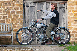 Dr. George Cohen (Norton George) on one of his Nortons at his home - workshop in Somerset, England. Monday September 12, 2011. Photography ©2011 Michael Lichter. (RIP George Cohen 5/27/16)