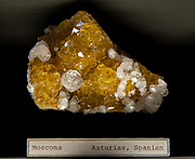 Yellow Fluorite mineral from Moscona Mine, Spain. Photographed at the Natural History Museum, Vienna, Austria