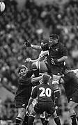 Twickenham. Surrey. UK England vs New Zealand, Autumn Internationals.<br /> <br /> 09/11/2002<br /> International Rugby England vs New Zealand<br /> Line out ball -  All Black Brad Mika<br /> <br /> [Mandatory Credit: Peter SPURRIER/Intersport Images]