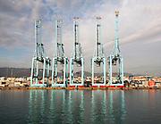 Large cranes APM Terminals container ship port at Algeciras, Cadiz Province, Spain
