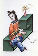 Smoking opium, mid 19th century. Chinese lady smoking a pipe of opium, an addictive narcotic drug produced from the sap of the opium poppy (Papaver somniferum).  Her feet, which are unnaturally small, have been subjected to the practice of foot binding.