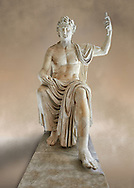 Roman colossal seated staue of Augustus Caesar, white marble, late first century B.C, inv 6040, Naples National Archaeological Museum ..<br /> <br /> If you prefer to buy from our ALAMY STOCK LIBRARY page at https://www.alamy.com/portfolio/paul-williams-funkystock/greco-roman-sculptures.html . Type -    Naples    - into LOWER SEARCH WITHIN GALLERY box - Refine search by adding a subject, place, background colour, museum etc.<br /> <br /> Visit our ROMAN WORLD PHOTO COLLECTIONS for more photos to download or buy as wall art prints https://funkystock.photoshelter.com/gallery-collection/The-Romans-Art-Artefacts-Antiquities-Historic-Sites-Pictures-Images/C0000r2uLJJo9_s0