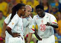 Faro 27/6/2004 Euro2004 <br />Svezia - Olanda 4-5 after penalties (0-0) <br />Edgard Davids (left) Jaap Stam and Clarence Seedorf of Netherlands <br />Photo Andrea Staccioli Graffiti