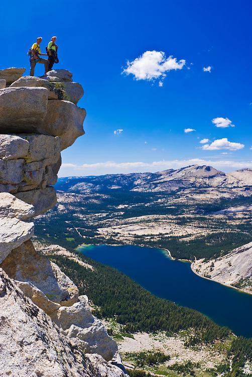 Climbers on the summit of Tenaya Peak, Tuolumne Meadows area, Yosemite National Park, California