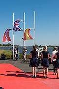 Brandenburg. GERMANY. Flags raised for GBR LM2-. Bow Joel CASSELLS and Sam SCRIMGEOUR, Gold Medalist.<br /> 2016 European Rowing Championships at the Regattastrecke Beetzsee<br /> <br /> Sunday  08/05/2016<br /> <br /> [Mandatory Credit; Peter SPURRIER/Intersport-images]
