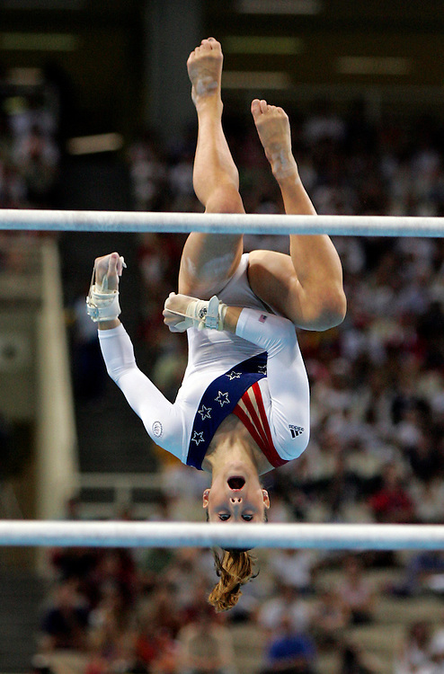 Carly Patterson flew off the uneven bars in Tuesday evening's women's team gymnastics final, where the US took a silver medal at the 2004 Summer Olympic Games in Athens, Greece.