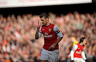 Arsenal's Oliver Giroud celebrates after scoring his sides  1st goal of the game  during Barclays Premier League , Arsenal v Sunderland at the Emirates Stadium in London, England on Saturday 22nd Feb 2014.<br /> pic by John Fletcher, Andrew Orchard sports photography.