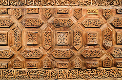 Old ornate wooden door detail at Sharjah Museum of Islamic Civilization in Sharjah United Arab Emirates