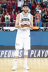 June 19, 2018 - Vitoria, Spain - Real Madrid Rudy Fernandez receive the MVP of finals awards after Liga Endesa Finals match (4th game) between Kirolbet Baskonia and Real Madrid at Fernando Buesa Arena in Vitoria, Spain. June 19, 2018. (Credit Image: © Coolmedia/NurPhoto via ZUMA Press)