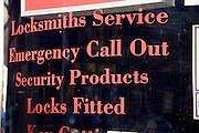 Locksmiths shop window sign