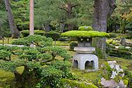 A moss hat on a stone lantern in the Kenrokuen Garden, Kanazawa, Ishigawa, Japan