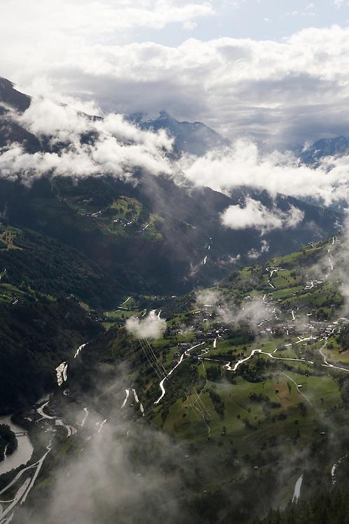 IFTE-NB-007639; Niall Benvie; panorama element; View into the valley around Fliess from Kaunergrat visitor's centre; Austria; Europe; Tirol; vertical; grey blue; forest woodland; 2008; July; summer; fog mist rain cloud; Wild Wonders of Europe Naturpark Kaunergrat