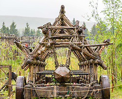 Pictured: Rosie the battering ram, donated by Russell Crowe, which featured in the film Robin Hood at Duncarron Medieval Village Opening. Carron Valley Forest, Lanarkshire, 18 May 2019. In authentic Scottish weather, The Clanranald Trust opens a full-scale replica of an early Medieval Fortified Village typical of a Scottish Clan Chief's residence. The open air museum includes traditional buildings such as round houses, a great hall, and tower. Sally Anderson | EdinburghElitemedia.co.uk