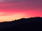 Dawn over the Tuscan landscape at Montepulciano, Italy