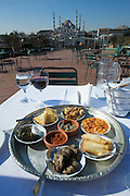 """Istanbul. Sultan Ahmed Mosque (""""Blue Mosque"""", Sultanahmet Camii) seen from the terrace of Armada Hotel. Lunch with traditional """"Meze"""" (small starters)."""