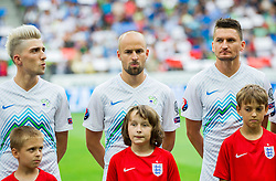 Kevin Kampl of Slovenia, Miso Brecko of Slovenia and Andraz Kirm of Slovenia during the EURO 2016 Qualifier Group E match between Slovenia and England at SRC Stozice on June 14, 2015 in Ljubljana, Slovenia. Photo by Vid Ponikvar / Sportida